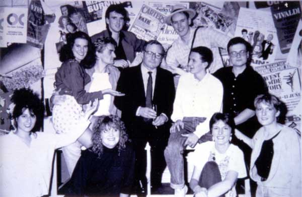 David Hawkesworth with the cast of Godspell 1989